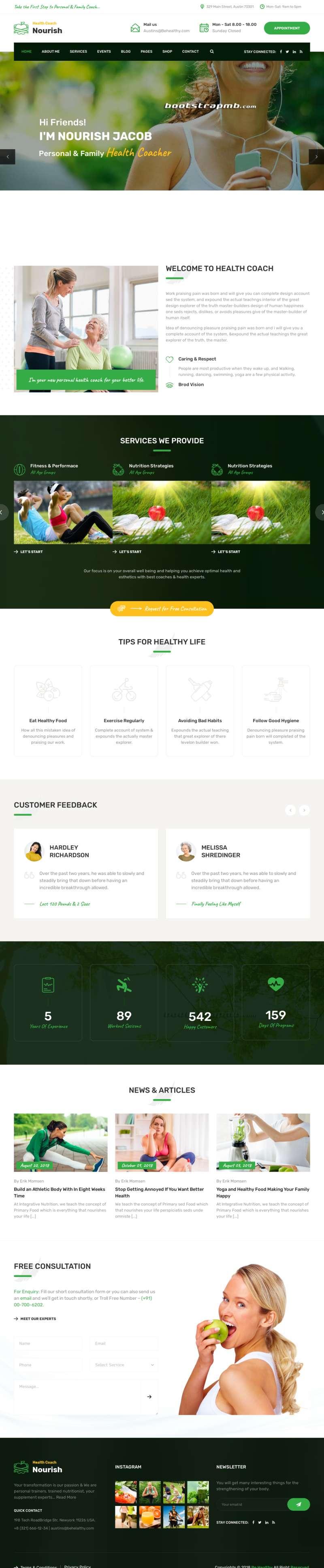 绿色的健康指导生活服务HTML5网站模板