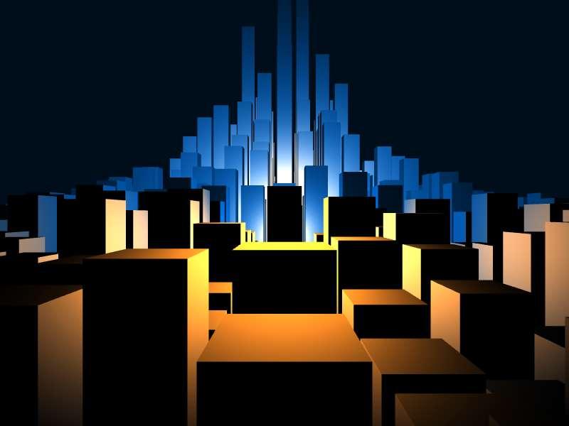 html5 3D城市模型动画特效