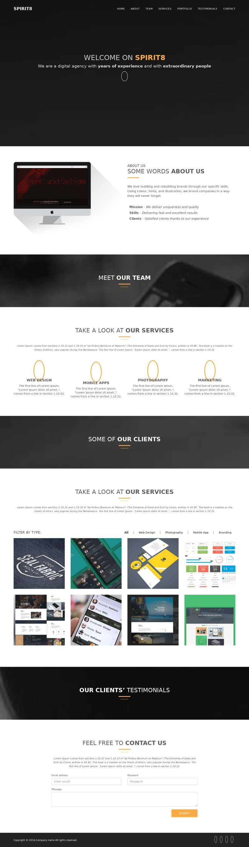 黑色简单的个人主页作品展示网页模板