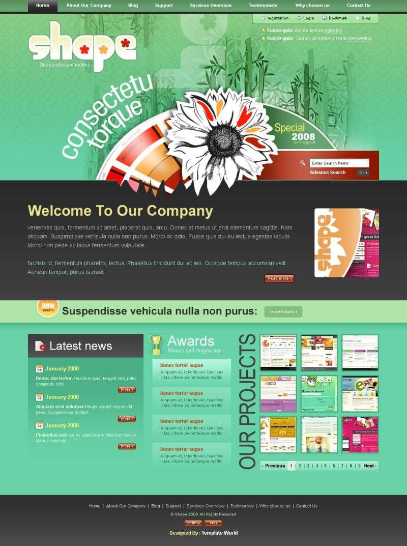 绿色的个人博客psd html网页模板下载