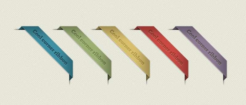 彩色带包边的右折角标签图标psd分层素材下载