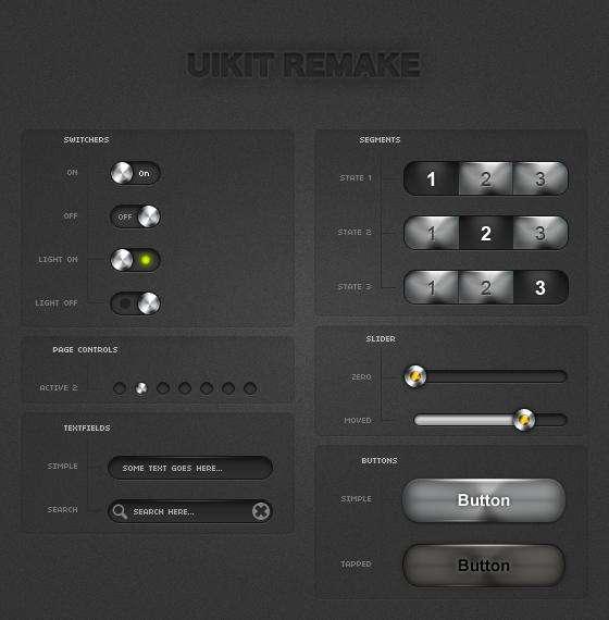 一组黑色超酷的ui组件_黑色立体质感的网页ui组件下载