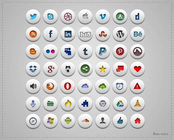 网页常用的圆形社交网站功能性图标psd素材