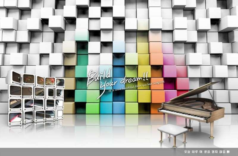 酷炫的立体格子图片_电子钢琴广告banner设计素材下载
