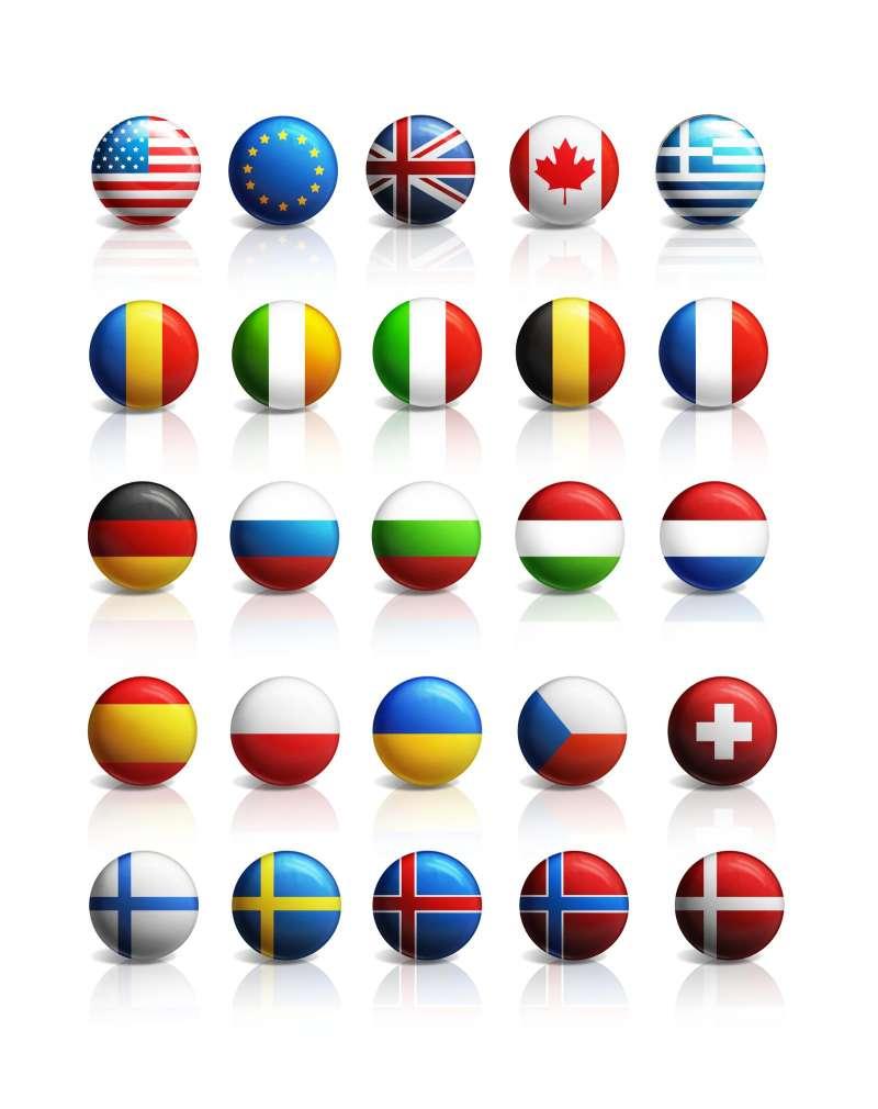 立体圆形的世界各国的国旗图标psd下载