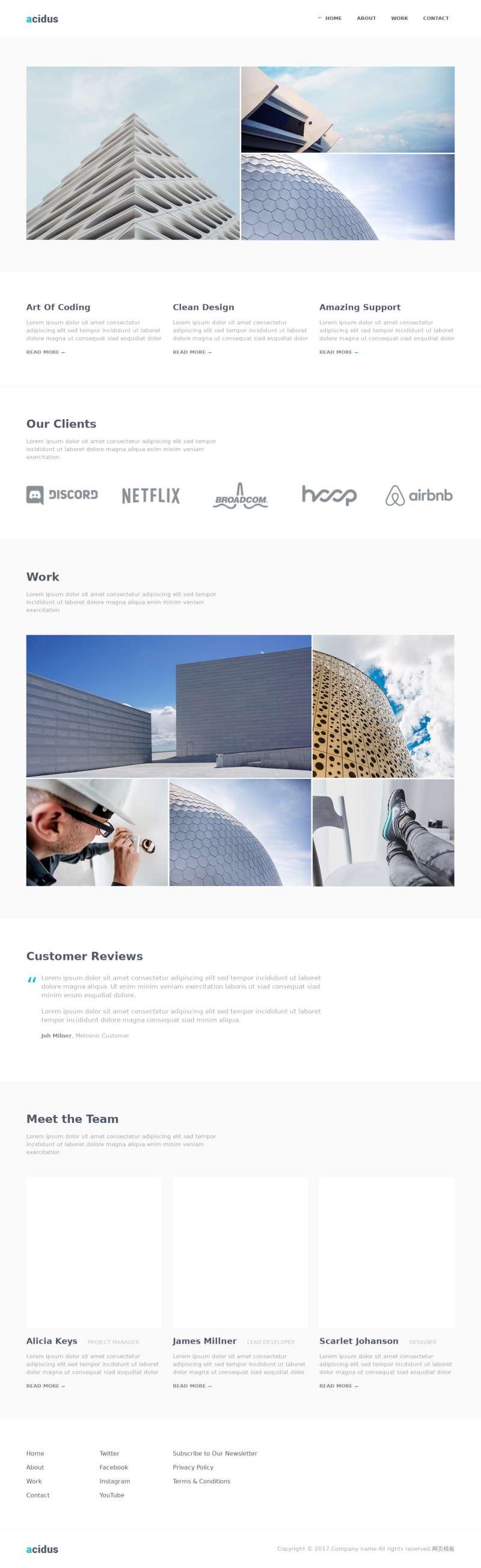 简洁的建筑艺术展示公司网页模板